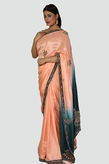 Picture of Peach Colored Designer Dola Silk Saree
