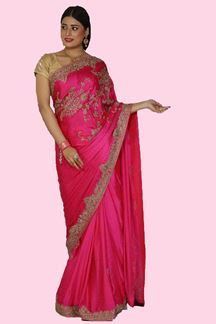 Picture of Elegant Rani Pink Colored Partywear Satin Silk Saree