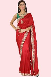 Picture of Majesty Red Colored Festive Wear Dola Silk Saree