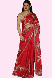 Picture of Adorable Rani Pink Colored Party Wear Satin Silk Saree