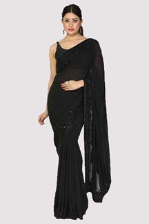 Picture of Black Colored Designer Georgette Saree