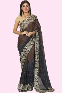 Picture of Staring Brown & Grey Colored Shaded Crepe Saree