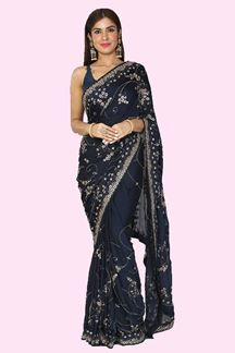 Picture of Pleasant Navy Blue Colored Partywear Crepe Saree