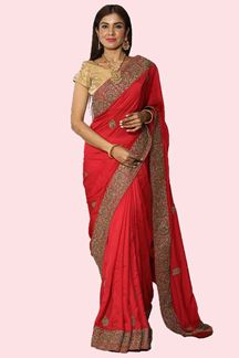 Picture of Gleaming Carrot Red Colored Satin Silk Saree