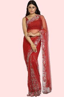 Picture of Red Saree In Net Featuring Moti And Stone Work