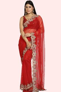 Picture of Red Color Saree In Net With Embroidered Work
