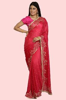 Picture of Trendy Pink Colored Designer Crepe Saree