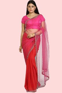 Picture of Pink & Red Colored Saree Half and Half Saree