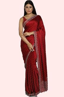 Picture of Captivating Maroon Colored Party Wear Satin Silk Saree