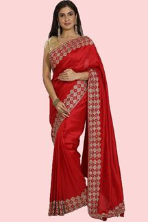 Picture of Attractive Red Colored Party Wear Dola Silk Saree