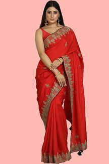 Picture of Groovy Red Colored Dola Silk Saree