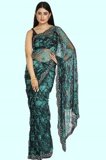 Picture of Fantastic Black- Green Colored Partywear Net Saree