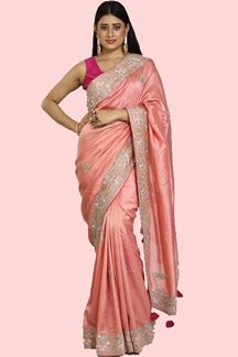 Picture of Trendy Peach Colored Partywear Dola Silk Saree