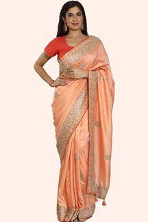 Picture of Sensational Peach Colored Dola Silk Saree