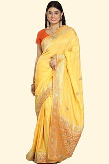 Picture of Sensational Yellow Colored Banarasi Silk Saree