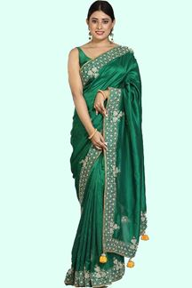Picture of Imposing Bottle Green Colored Dola Silk Saree