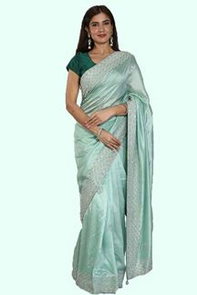 Picture of Stylish Sea Green Colored Partywear Dola Silk Saree