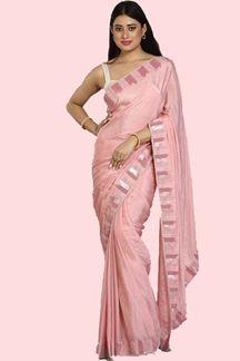 Picture of Delightful Pink Colored Festive Crepe Silk Saree
