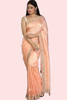 Picture of Flamboyant Peach Colored Partywear Dolla Silk Saree Saree