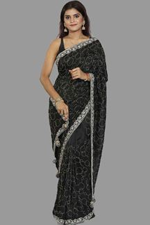 Picture of Excellent Dark Gray Colored Partywear Dolla Silk Saree