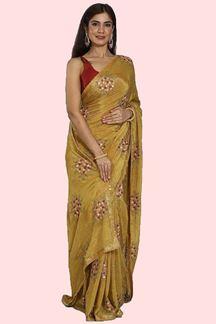 Picture of Staring Mustard Colored Crepe Silk Saree