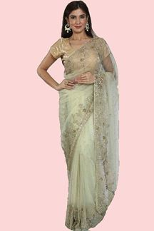 Picture of Refreshing Light Green Colored Net Saree