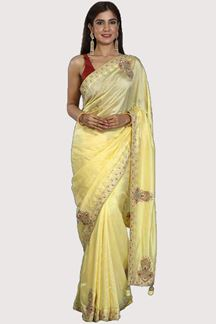 Picture of Desirable Lemon Yellow Colored Partywear Dolla Silk Saree