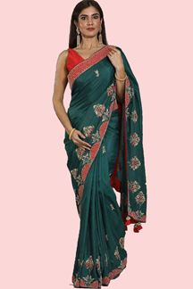 Picture of Glorious Green Colored Party Wear Dolla Silk Saree