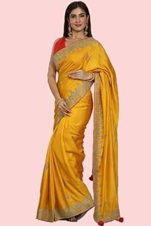 Picture of Pretty Yellow Colored Partywear Dolla Silk Saree