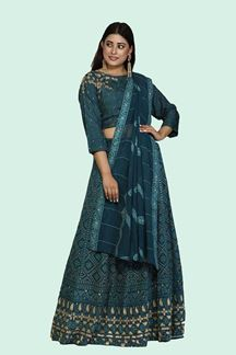 Picture of Prominent Electric Blue Colored Embroidered Lehenga Choli
