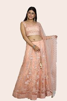 Picture of Glorious Peach Colored Embroidered Net Lehenga Choli