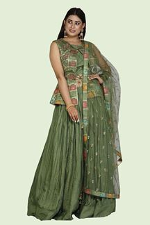 Picture of Refreshing Olive Green Colored Silk Peplum Style Lehenga Choli