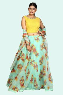 Picture of Fantastic Sea Green & Yellow Colored Floral Printed Organza Lehenga Choli