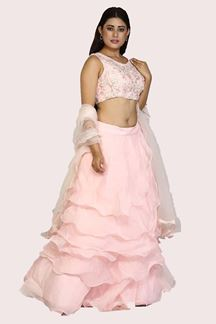 Picture of Beautiful Organza Lehenga with Ruffles & Embroidered Blouse
