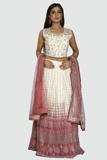 Picture of Pink Colored Lucknowi  Embroidered Work Lehenga Choli