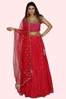Picture of Classy Rani Pink Colored Georgette-Chiffon Lehenga Choli