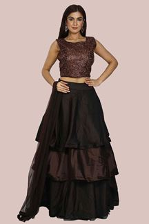 Picture of Mesmeric Brown Colored Taffeta Silk Lehenga Choli