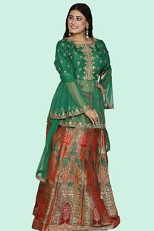 Picture of Gleaming Green Colored Partywear Silk Lehenga Choli