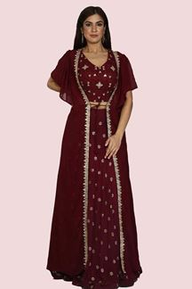 Picture of Hypnotic Wine Colored Party Wear Embroidered Georgette Lehenga Choli