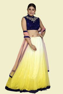 Picture of Adorning Yellow- Blue Designer Partywear Lehenga Choli