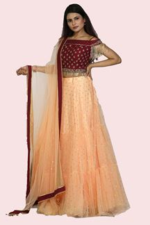 Picture of Pleasance Peach & Magenta Colored Party Wear Net Lehenga Choli