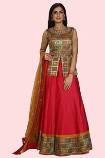 Picture of Ravishing Dark Pink Colored Art Silk Lehenga Choli