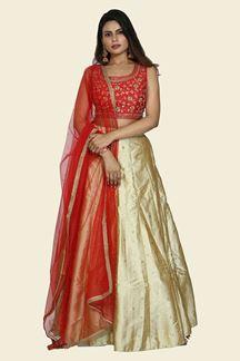 Picture of Imposing Red-Gold Colored Art Silk Lehenga Choli
