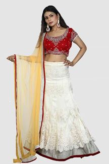 Picture of Amazing White- Red Colored Partywear Lehenga Choli