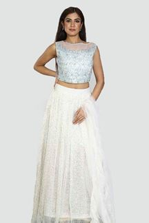 Picture of Adorning White Colored Partywear Net Lehenga Choli