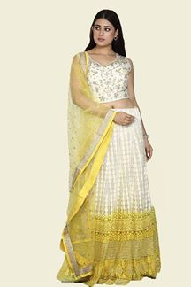 Picture of Smashing Yellow & White Colored Shaded Lehenga Choli