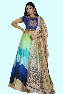 Picture of Hypnotic Multi-Colored Designer Raw Silk Lehenga Choli