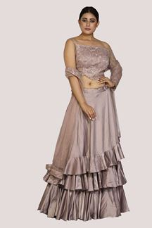 Picture of Engrossing Mauve Colored Designer Party Wear Lehenga choli