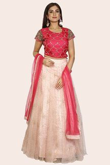 Picture of Amazing Peach- Rani Color Partywear Silk Lehenga Choli