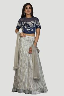 Picture of Grey & Blue Colored Partywear Designer Lehenga Choli